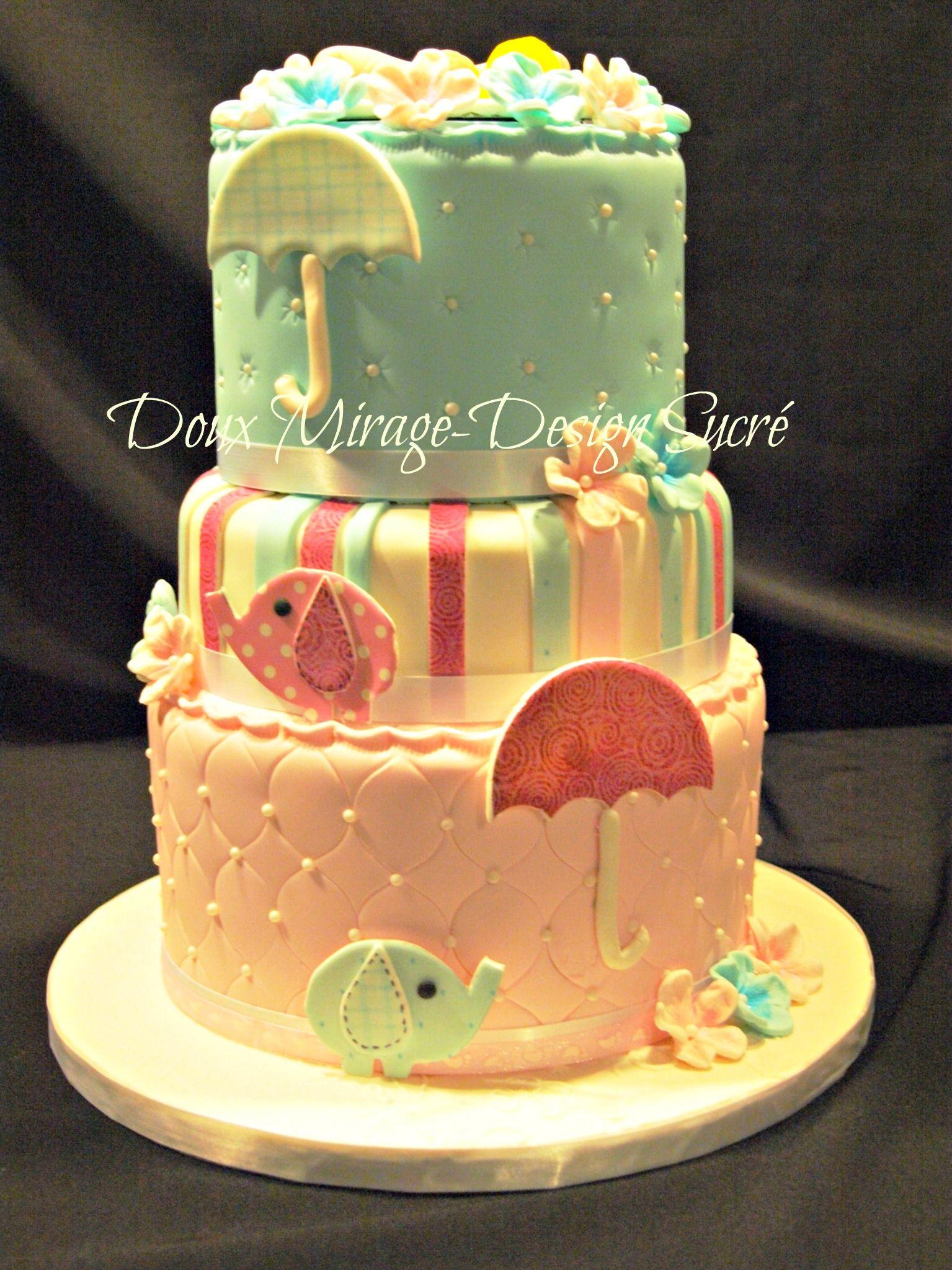 Twin baby shower cake g teau shower de b b pour des petits jumeau une petite fille et un - Gateau bebe fille ...