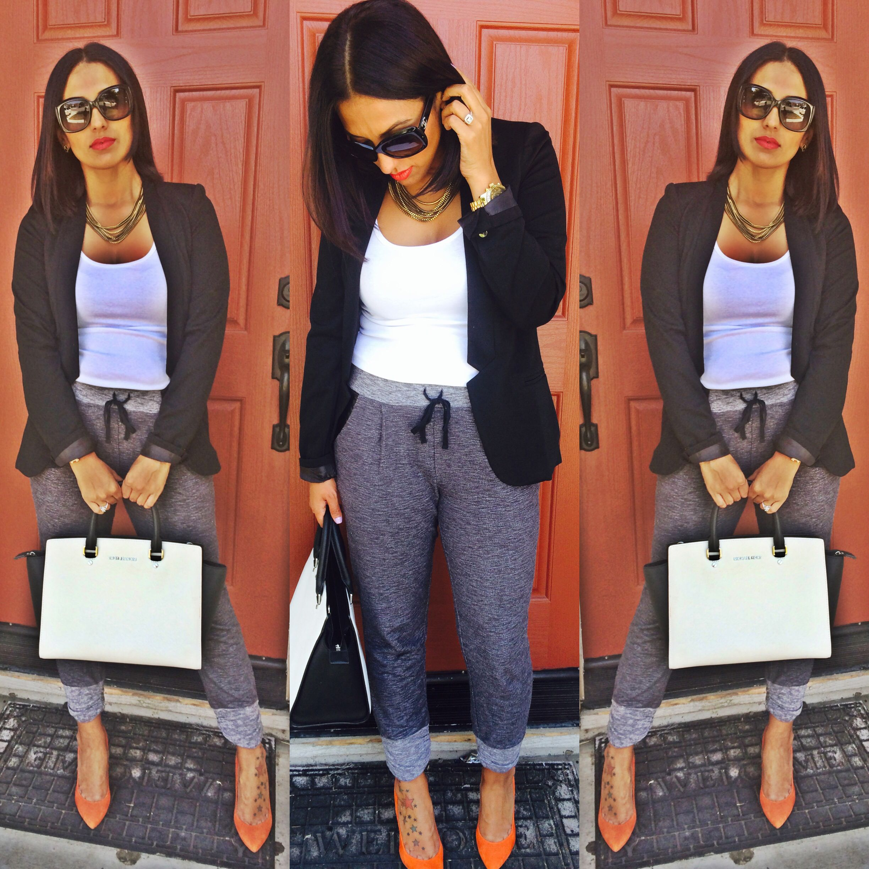 Grey sweat pants & orange heels