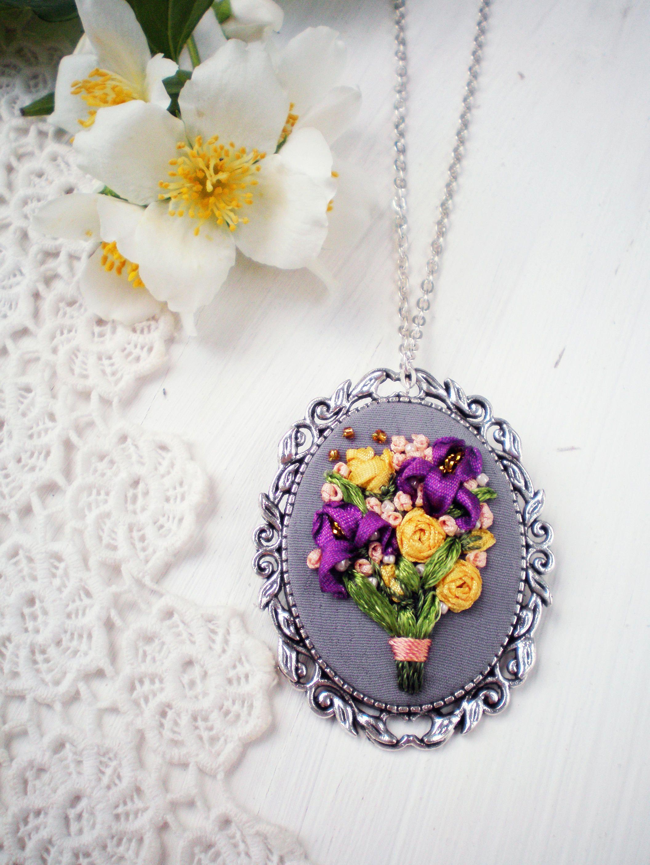 Purple Iris Yellow Rose Silk Ribbon Bridal Bouquet Flower Custom
