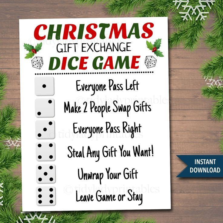 Christmas Dice Game Gift Exchange Swap Rules Printable in