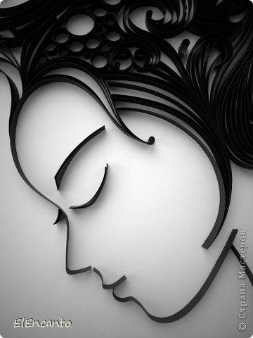 Картина панно рисунок Мастер-класс Квиллинг Профиль девушки + мини МК Бумажные полосы фото 14