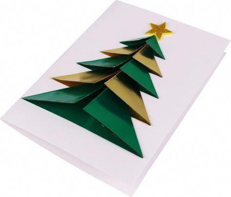 Carte sapin origami 3D - Noël - 10 Doigts #cartedenoelenfant
