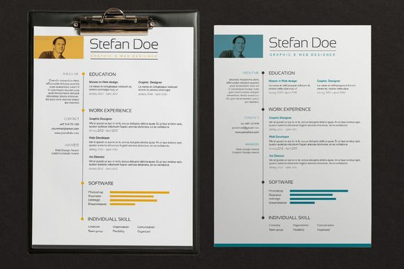 Color Resume  Cover By Graphicsauthor  Resume Cv Templates