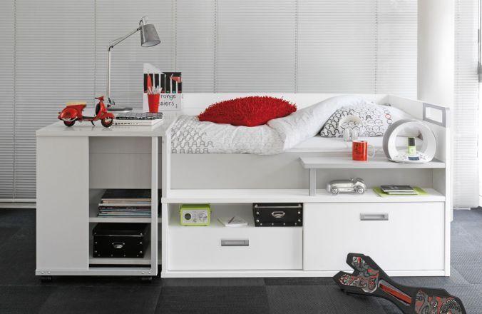 lit pour adolescent avec de nombreux rangements et un bureau int gr id es d co pour la. Black Bedroom Furniture Sets. Home Design Ideas