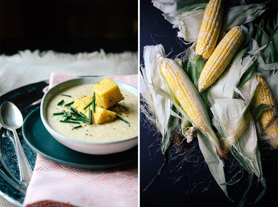 Creamy Vegan Corn Chowder With Cornbread Croutons Recipe Soup Appetizers Vegan Corn Chowder Vegetarian Soup Recipes