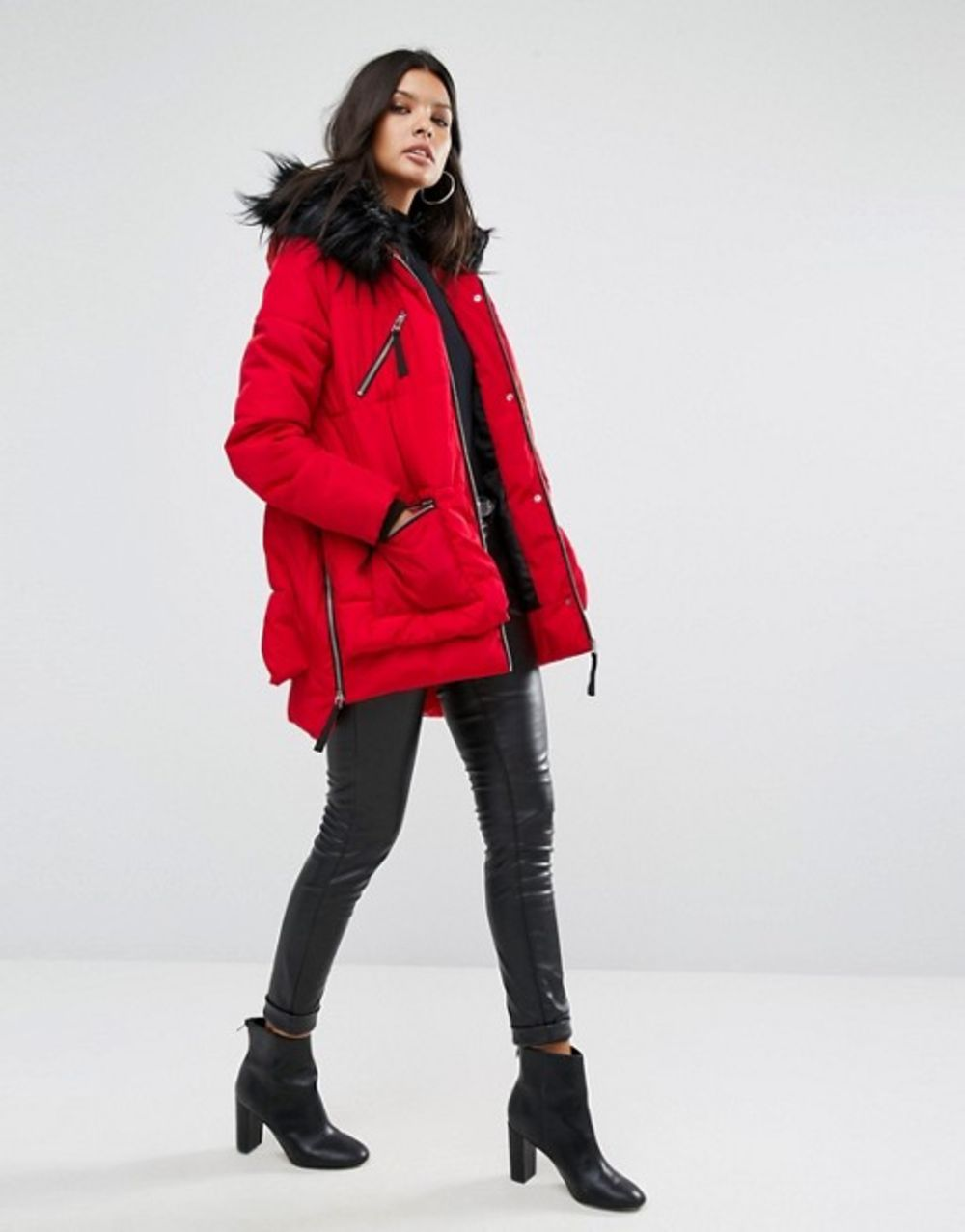 River Island Faux Fur Hooded Padded Jacket | Fall Outerwear Trends ...