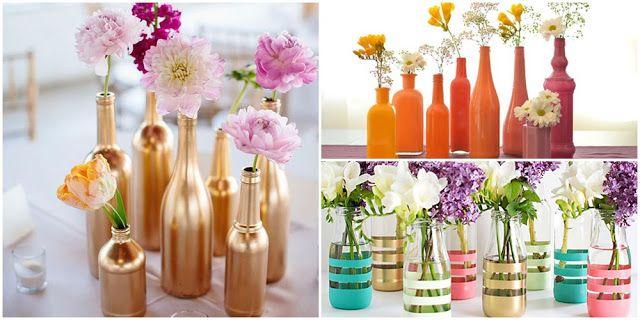 12 ideias para decorar garrafas para mesas Decoração Pinterest