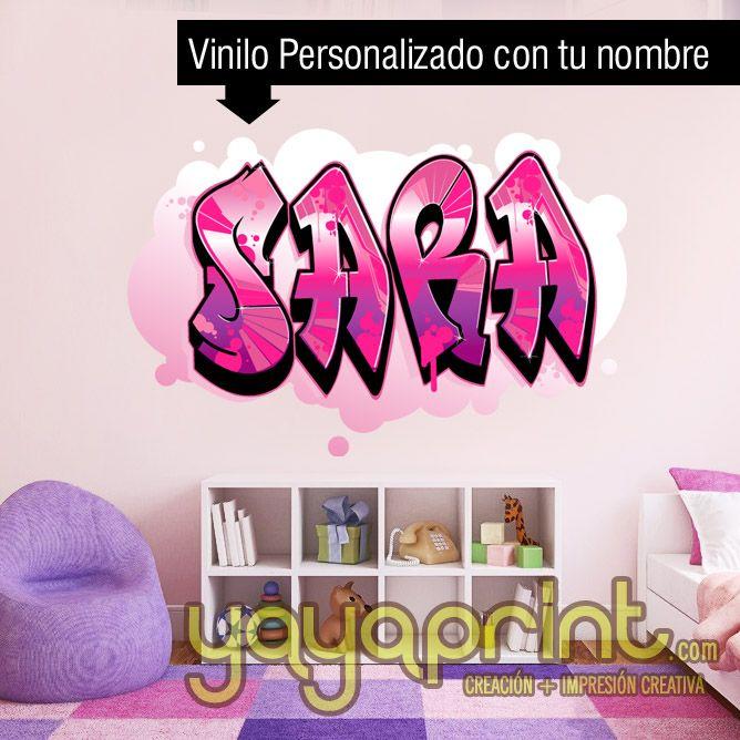 Graffiti nombre decoraci n habitaci n cuarto dormitorio - Decoracion habitacion juvenil nina ...