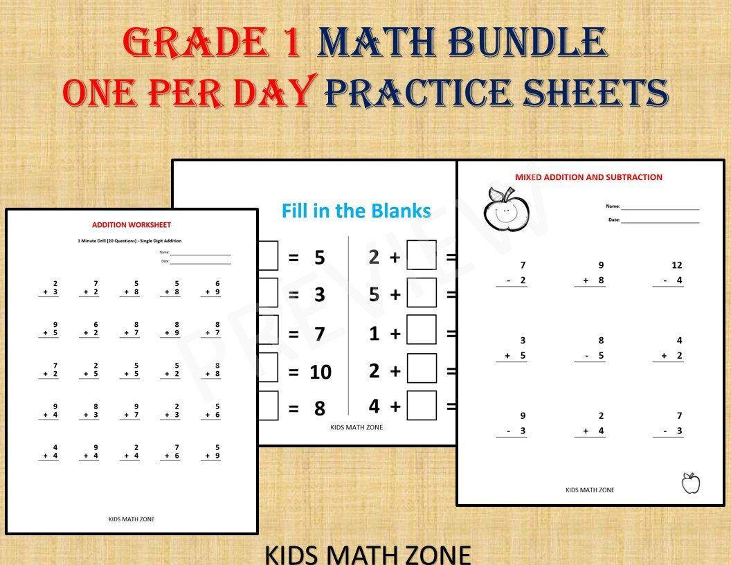 Grade 1 Math Workbook One Per Day 120 Math Worksheets 1st Etsy Math Workbook Math Worksheets 1st Grade Math