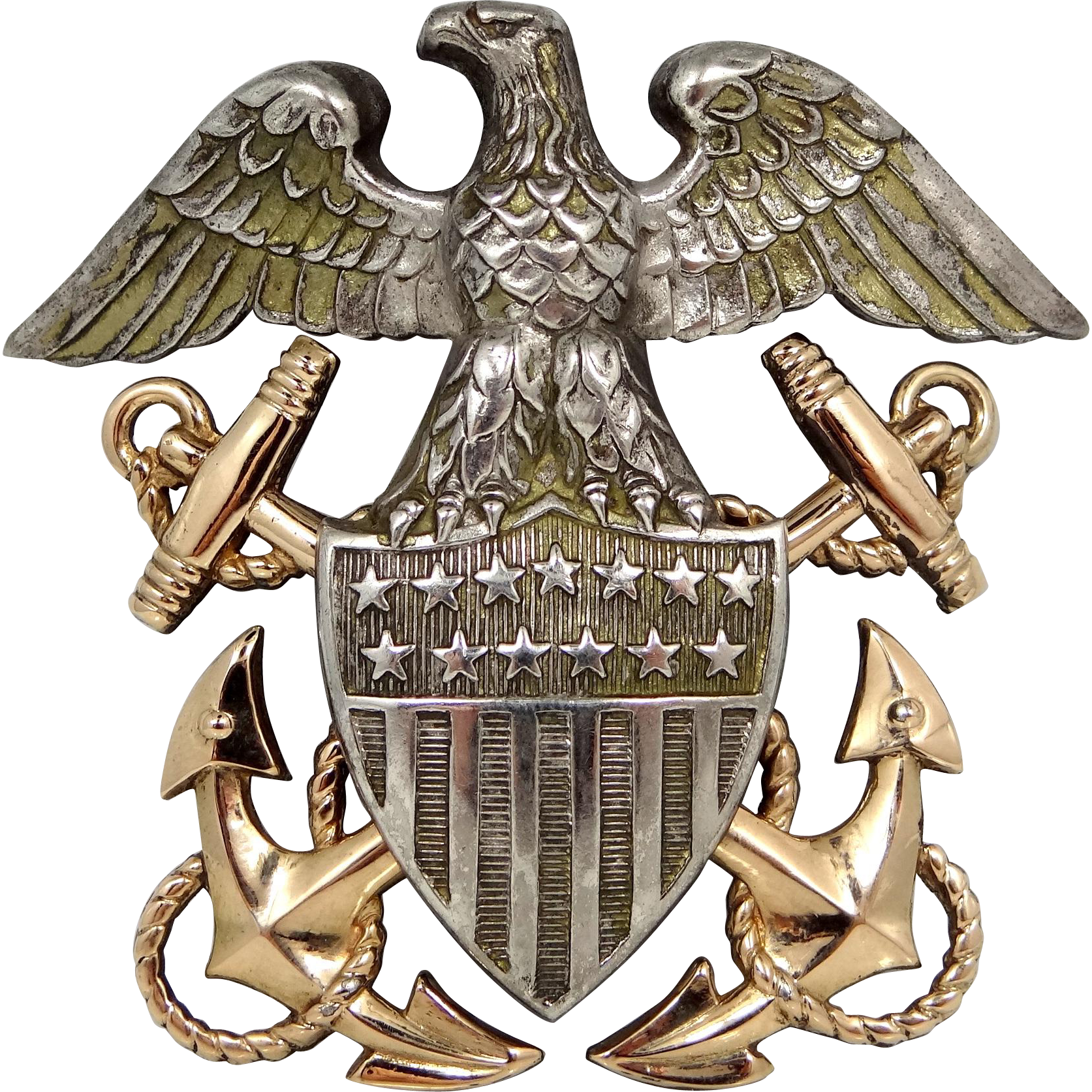 f7769a7e WII U.S. Navy Officer's Cap Hat Badge Eagle Insignia Sterling Silver & GF  Blackinton Co.