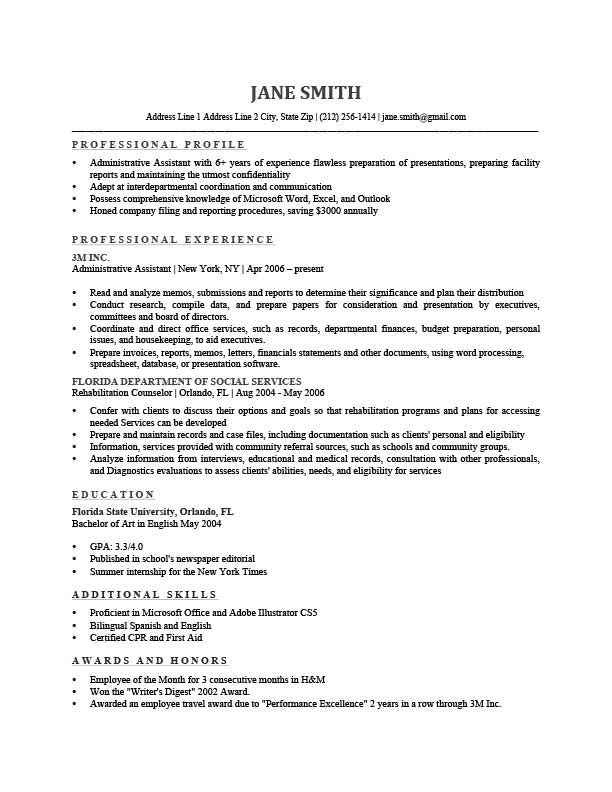 Resume Profile Resume Template Freeman Gray  Professional Development  Pinterest