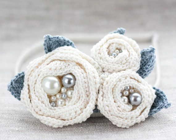 Crocheted White flowers Brooch Hair clip Headband with by ArsiArt