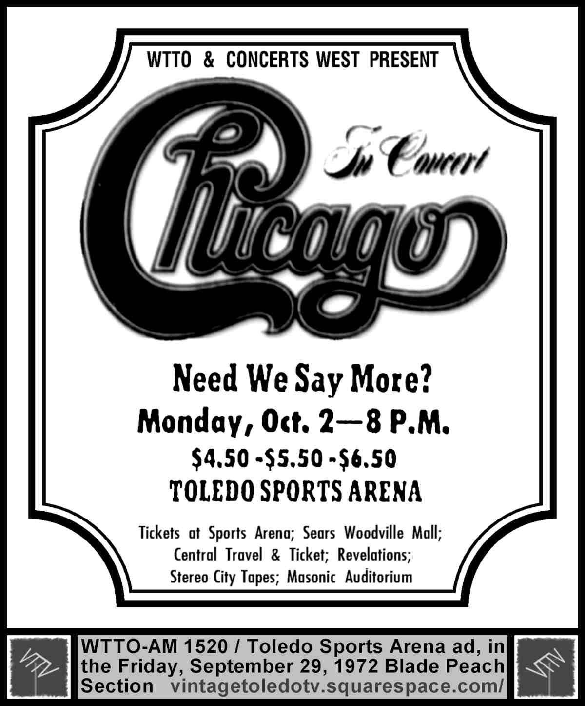 Vintage Toledo TV - Vintage Radio Station Print Ads - WTTO & Concerts West  present Chicago at Toledo Sports Arena (Fri 9/29/72 ad)