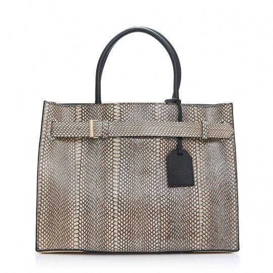 RK40L handbag in black-and-cream cobra snakeskin and leather.