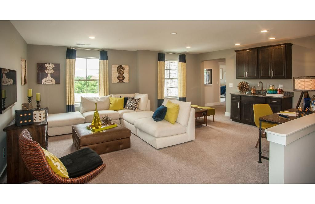 Bonus/game room with wet bar; The Kinsley floor plan, Drees Homes ...