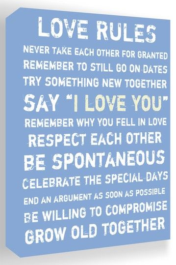 Love Rules Blue & White Canvas Wall Art | Quotes | Pinterest ...