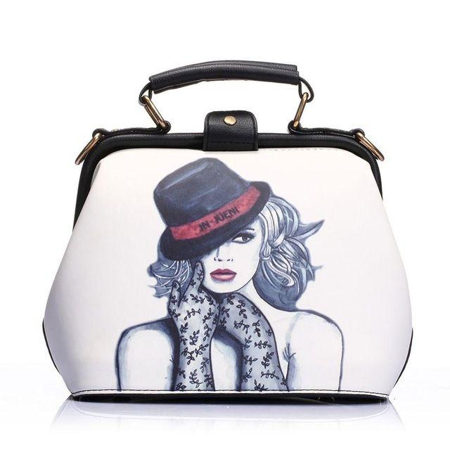 ROSCH 2016 Luxury Brand Women Doctor Handbag Cute Character Printed Lady Crossbody Bag New Fashion PU Small Female Shoulder Tote
