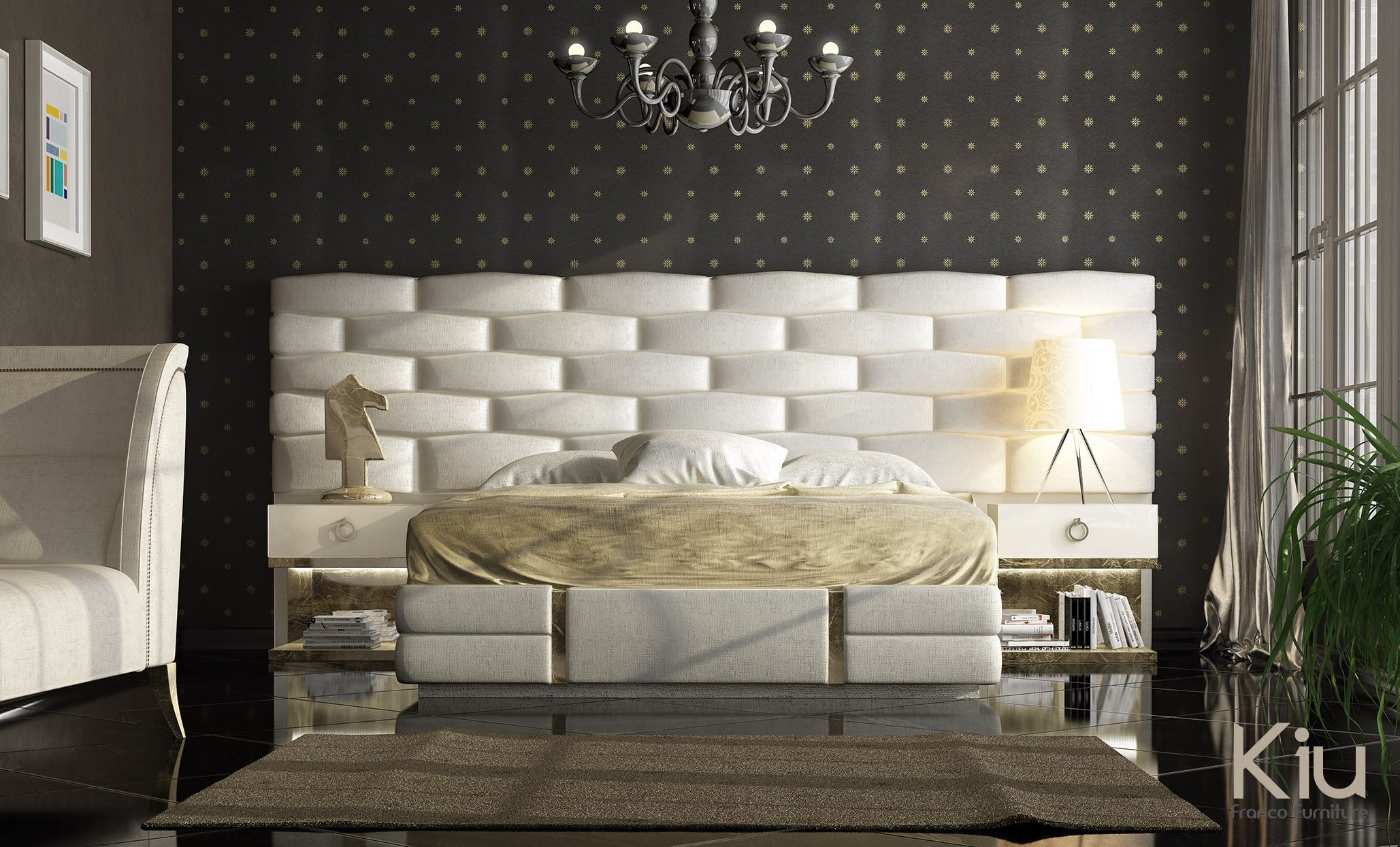 Dormitorio con cabecero tapizado y mesitas de noche con sistema de luces led laminados en pan - Cabeceros y mesitas de noche ...