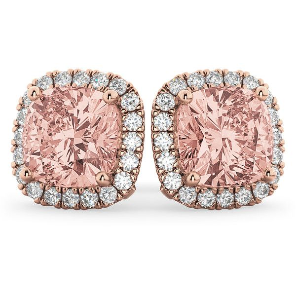 Allurez Halo Cushion Morganite Diamond Earrings 14k Rose Gold