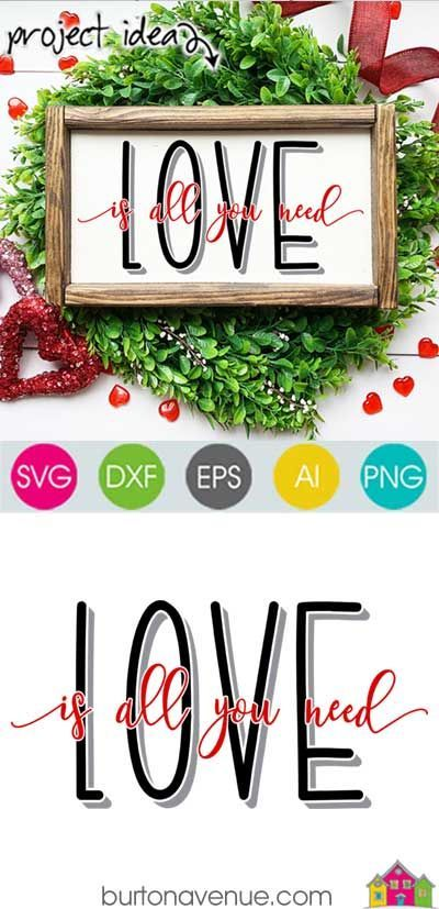Download Love is all you Need - Limited Time Free SVG File   Cricut ...