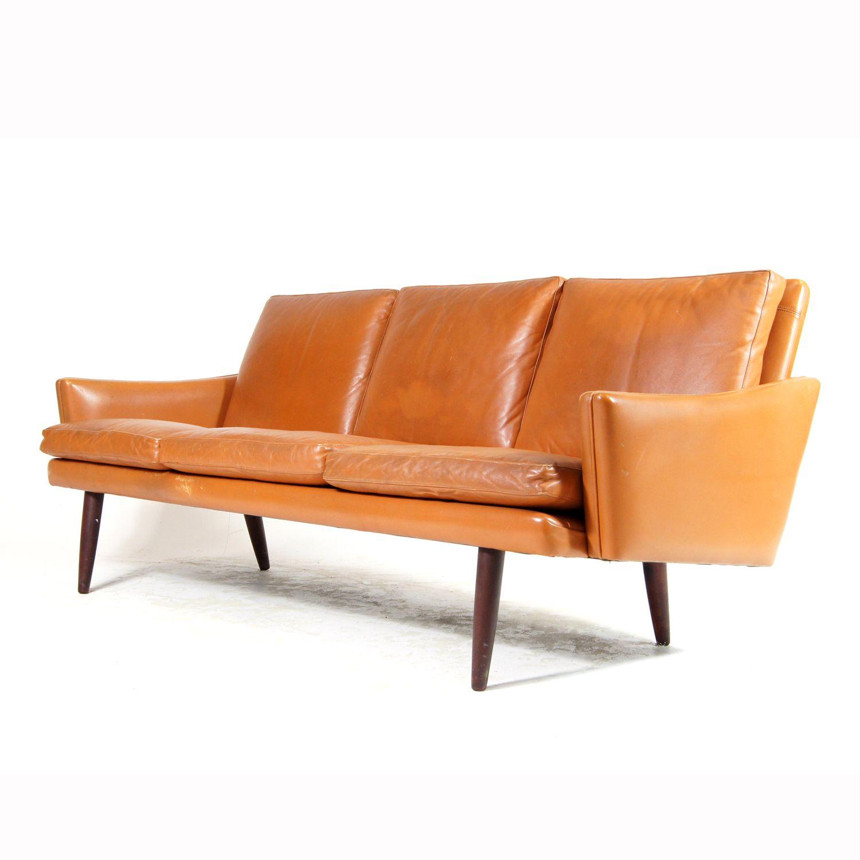 Retro Vintage Danish Rosewood Tan Leather 3 Seat Seater Sofa Mid Century 60s 70s Retro Sofa Vintage Sofa Leather Decor