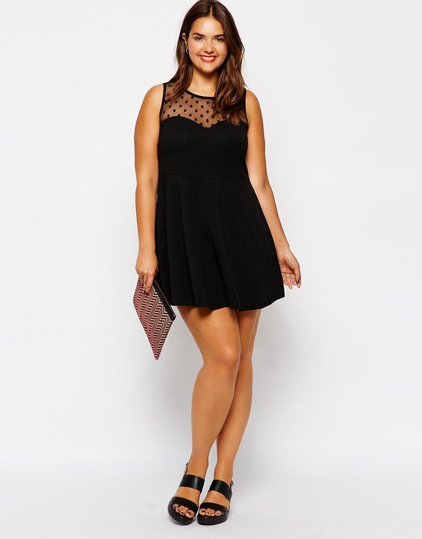New look inspire spot mesh insert skater dress dresses