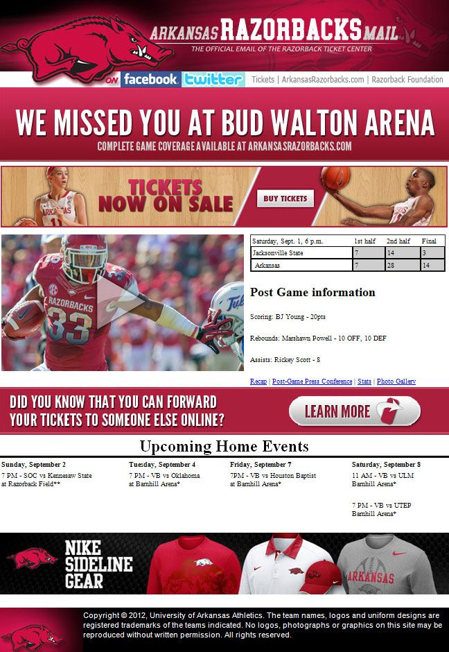 Arkansas awesome post game email targeted off of