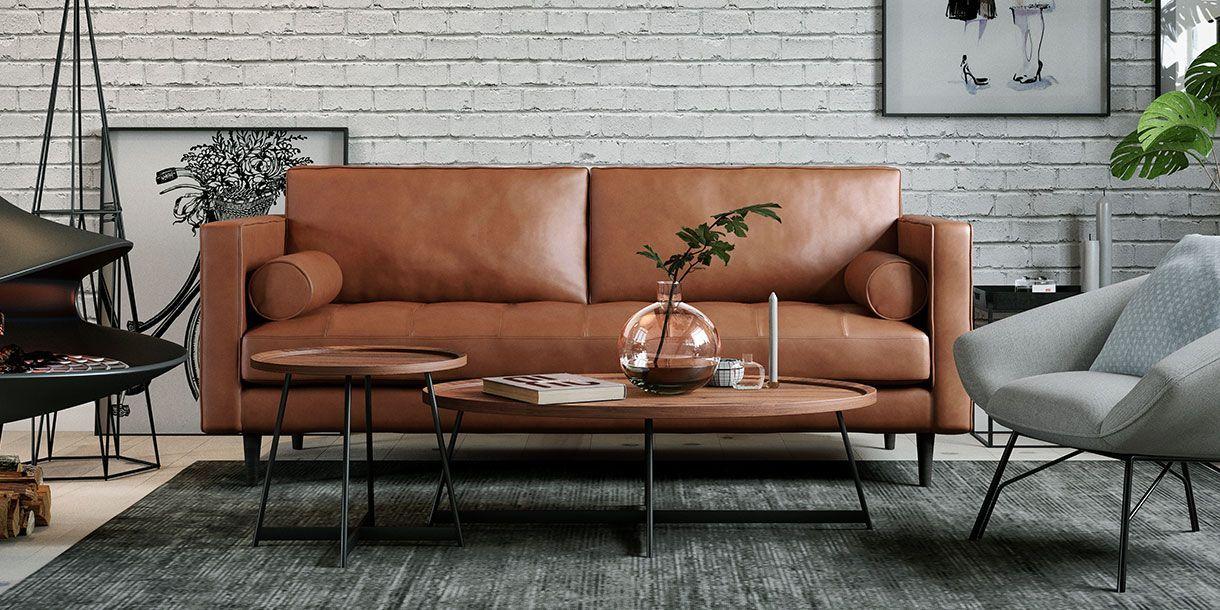 Wyatt Side Table Walnut Leather Sofa Living Room Mid Century Leather Sofa Walnut Side Tables