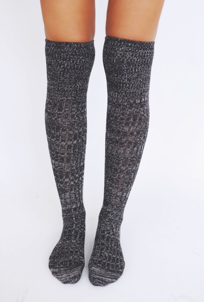 Knit Knee High Boot Socks- Black - Dottie Couture Boutique