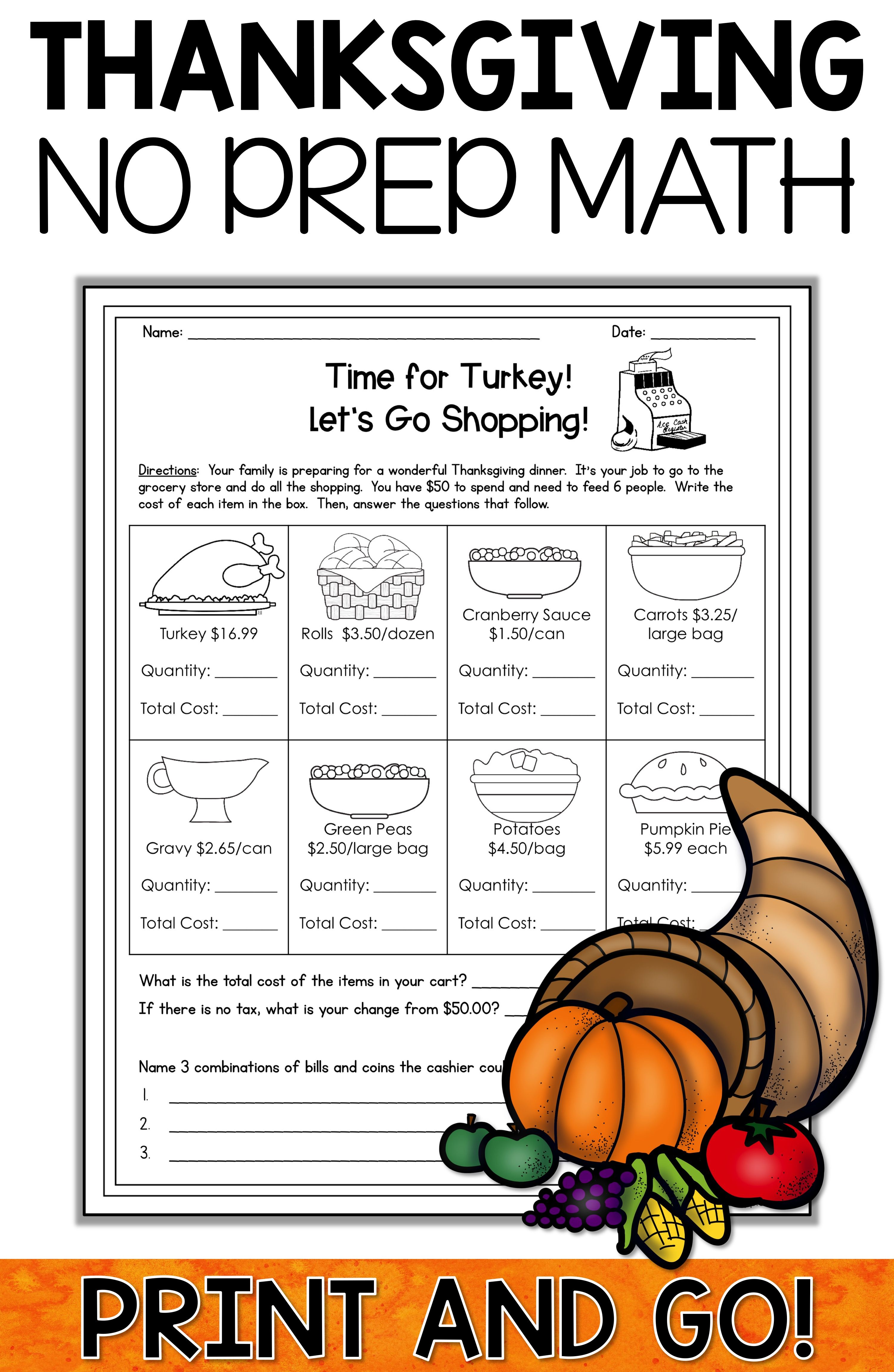 small resolution of Thanksgiving Reading activities and Thanksgiving Math activities ar…    Maths activities middle school