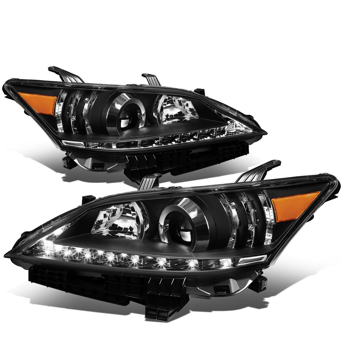 07 12 Lexus Es350 Led Drl Projector Headlights Black Housing Projector Headlights Lexus Headlights