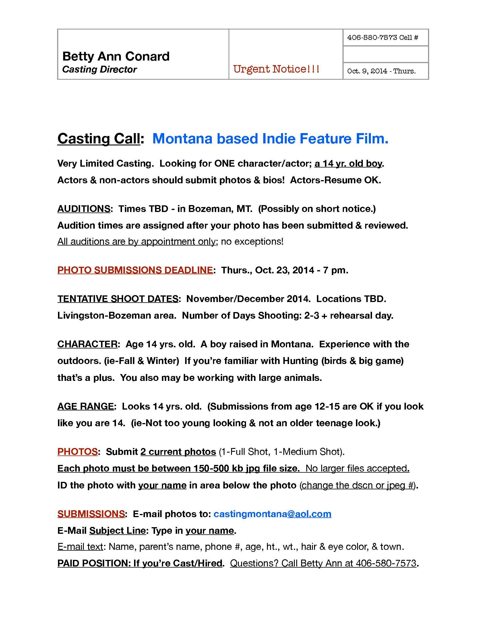 Casting call mt indie feature 2014g 17002200 film and casting call mt indie feature 2014g 1700 pronofoot35fo Choice Image