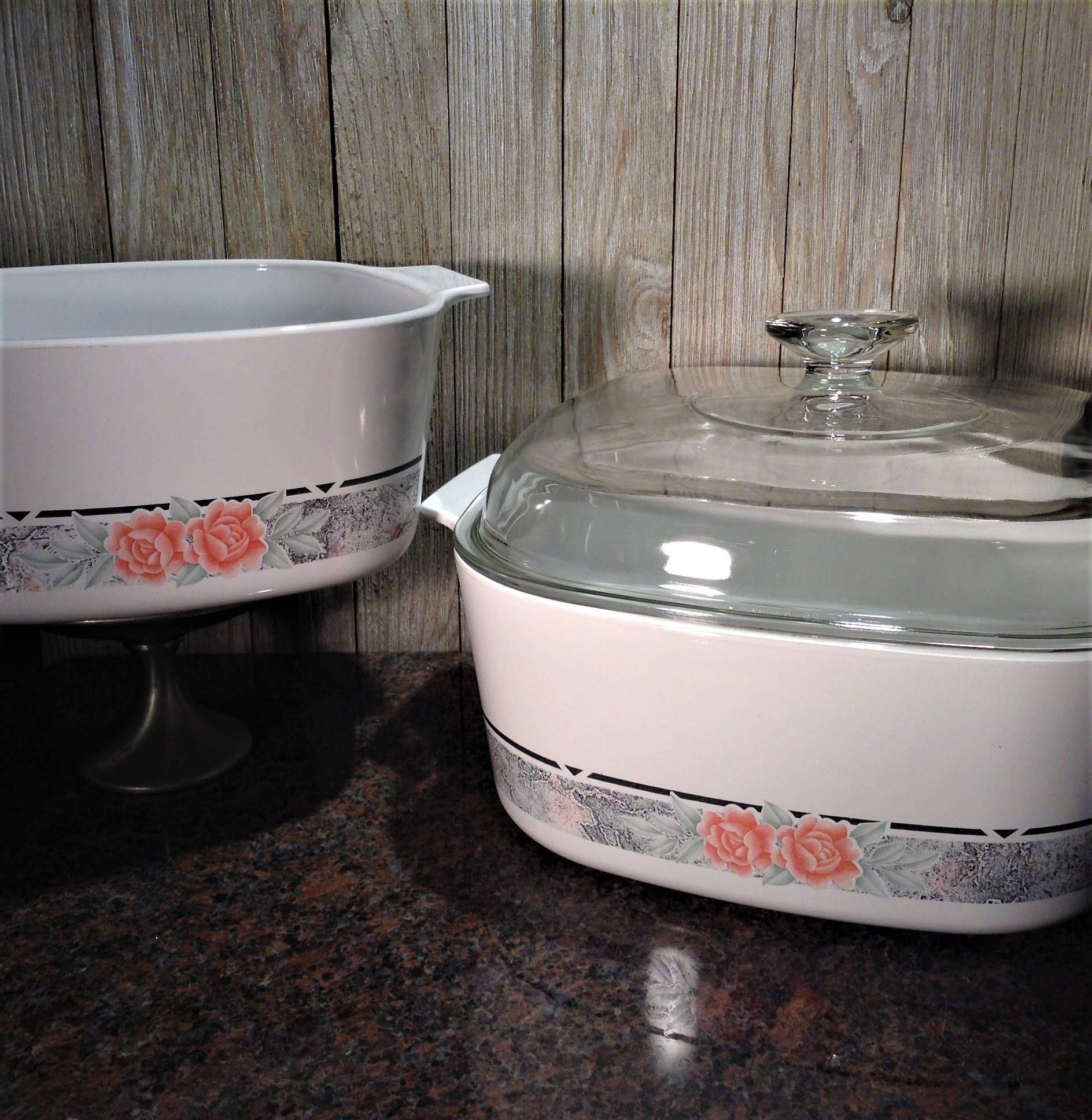Corning Ware Silk and Roses 5 qt Dutch Oven w Lid & 3 qt Casserole ...
