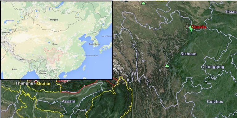 map shows the location of guanba in sichuan province inset shows sichuan province in