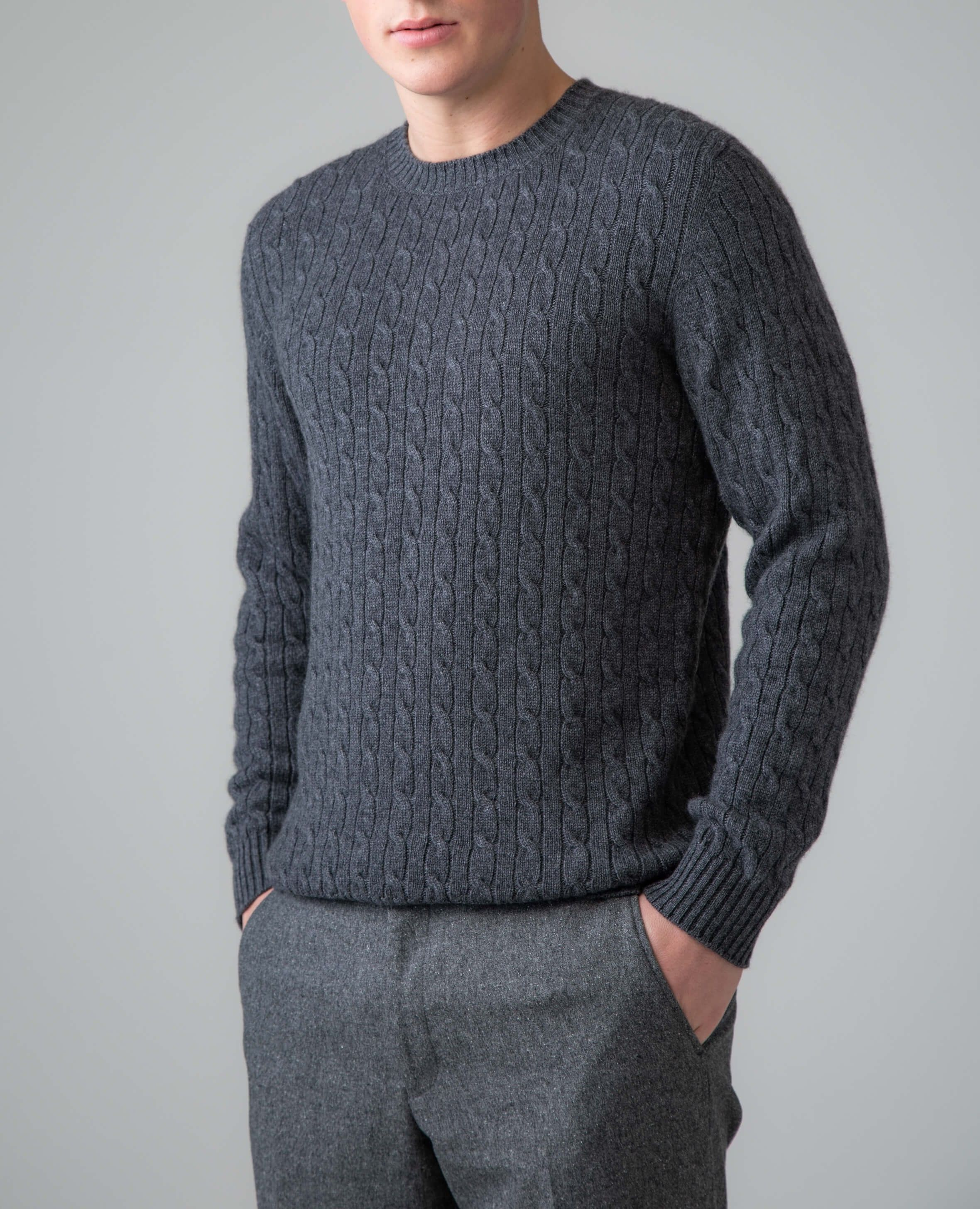 1ebbd42d5b104c A modern classic for your wardrobe, discover our Granite Grey Cable & Rib  Men's Cashmere Jumpers at Johnstons of Elgin.