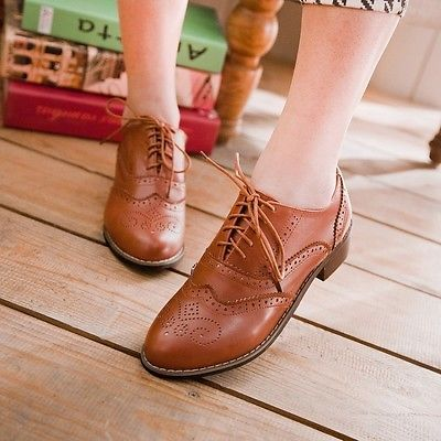 Details about Vintage Hot Womens Low Flat Heels Lace Up Brogues Girls College Oxford Shoes New