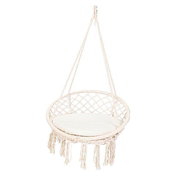macrame outdoor hanging chair pinterest chaise suspendue chaise et. Black Bedroom Furniture Sets. Home Design Ideas