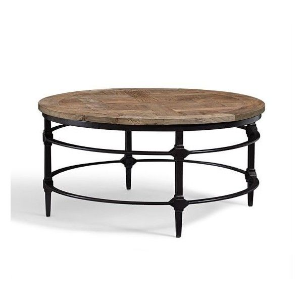 Pottery Barn Parquet Reclaimed Wood Round Coffee Table (1,065 CAD) ❤ Liked  On Polyvore