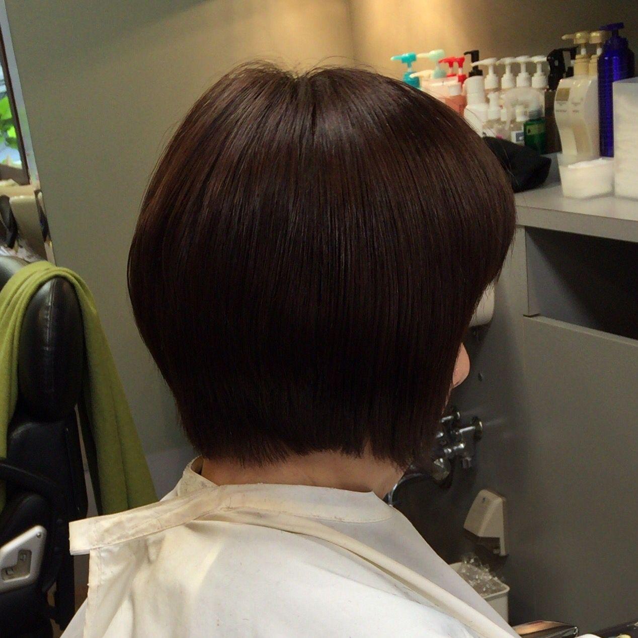 ボブ くせ毛を縮毛矯正 少しの白髪や 癖毛などで ヘア