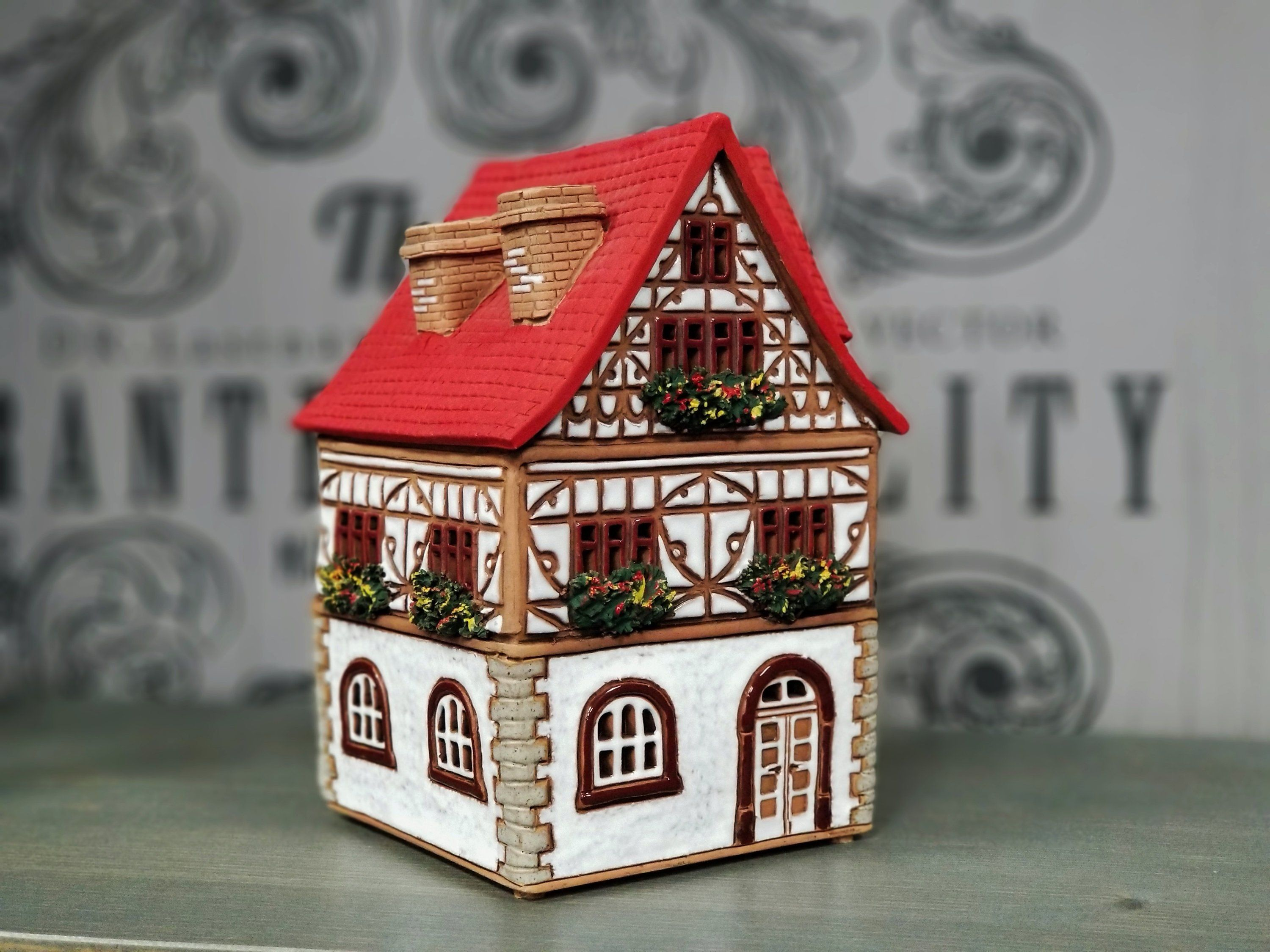 Original Handmade Ceramic Miniature House Decor Gifts Candle Holder For Aroma Oils Use Unique Gift Christmas Gifts Village House Candle Handmade Ceramics Home Candles House Candle Holder
