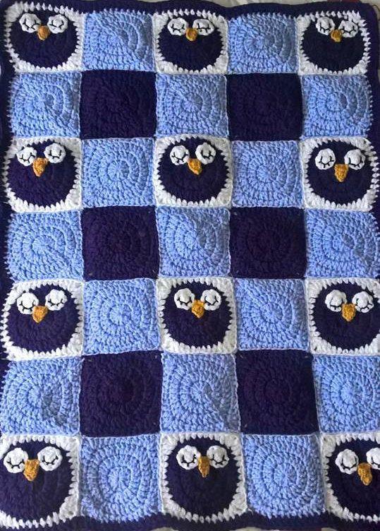 Ganchillo manta de buho para dormir del bebé manta de | crochet libo ...