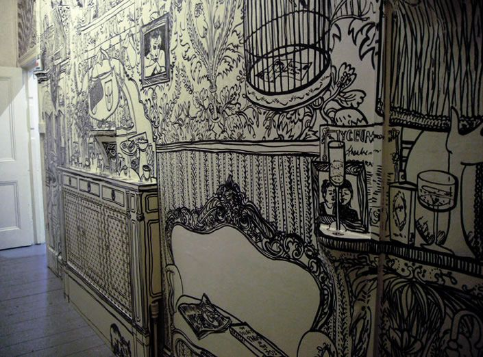 wall drawings done with black marker | ink illustrations, marker