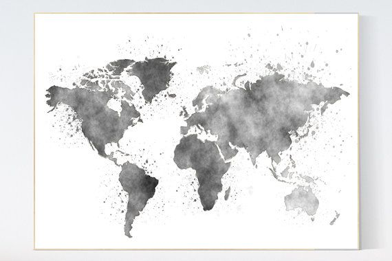 Watercolor world map nursery wall art world map wall art world watercolor world map nursery wall art world map wall art world map poster world map print nursery prints gray nursery decor gender neutral b gumiabroncs Image collections