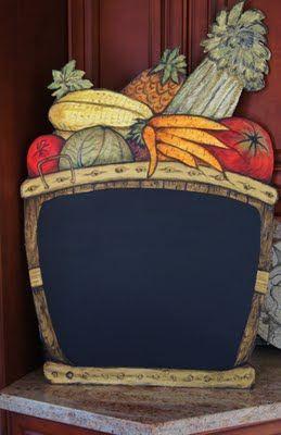 Fruit and Veggie Chalkboard Basket - Great Color Lots of Texture- Custom Kitchen Chalkboards