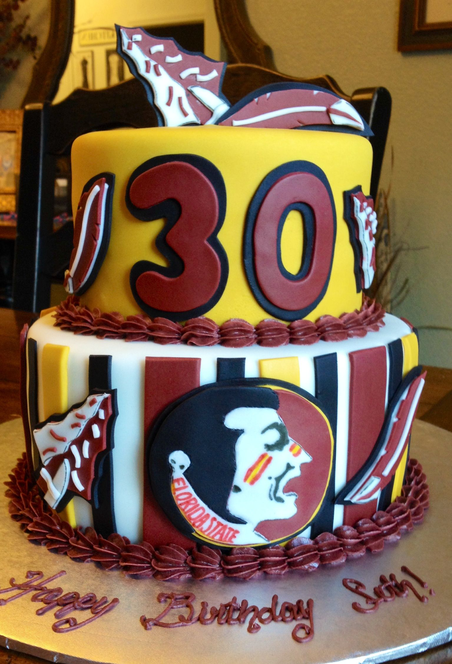That Is A Phenomenal Fsu Cake Love My Noles Garnet And Gold For
