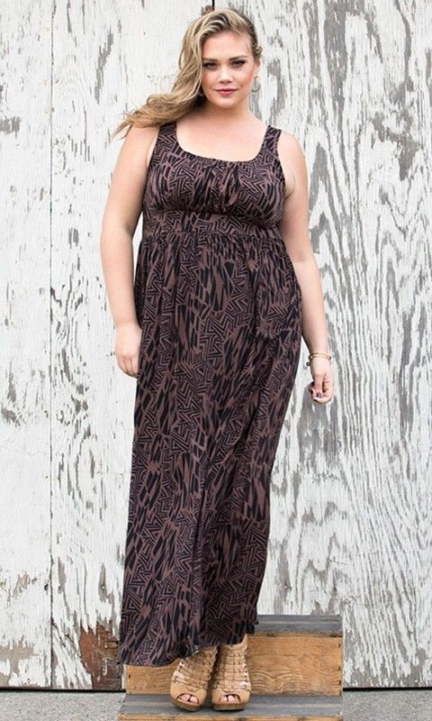 SWAK Plus Size Dress Womens Size 2X Erin Maxi Dress Black Brown ...
