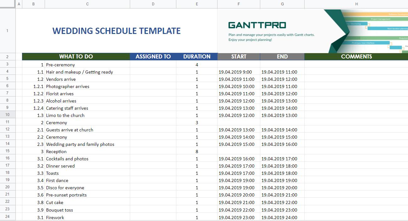 Wedding schedule template Excel Template Free Download