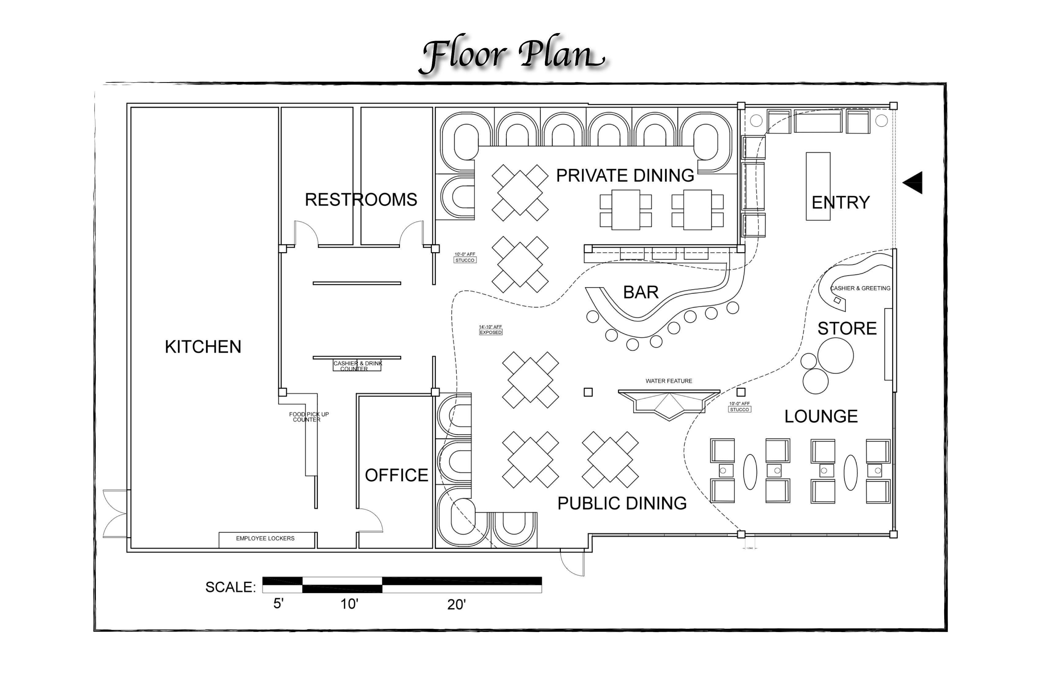 Fast food restaurant design layout for How to create a restaurant floor plan