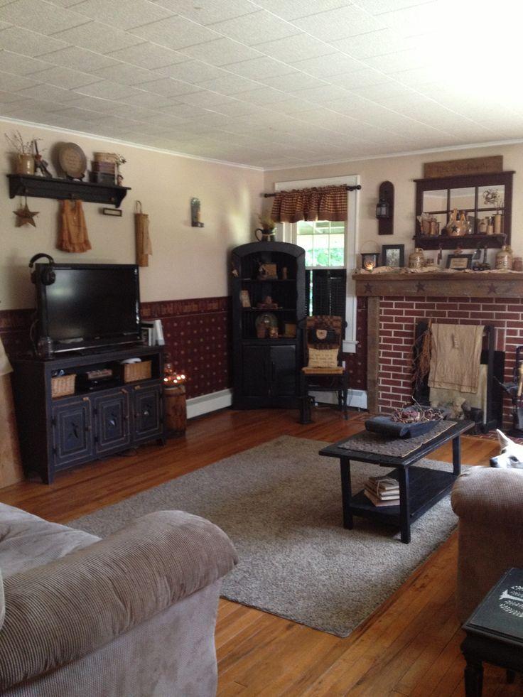 primitive living room primitive and country home decor rh pinterest com