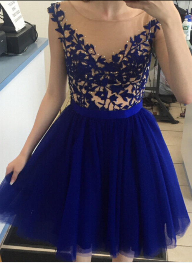 Navy Blue Tulle Party Dresses for Juniors
